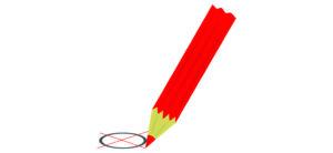 Der Wahlaufruf zeigt einen roten Buntstift, der ein rotes Kreuz in einen schwarzen Kreis zeichnet